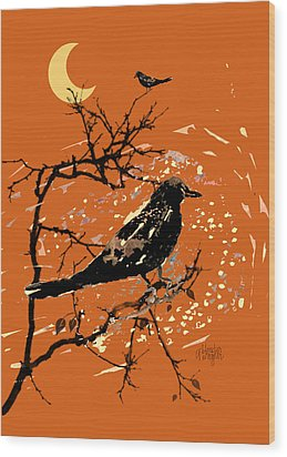 Crows On All Hallows Eve Wood Print by Arline Wagner