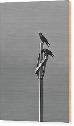 Crows On Steeple Wood Print by Richard Rizzo
