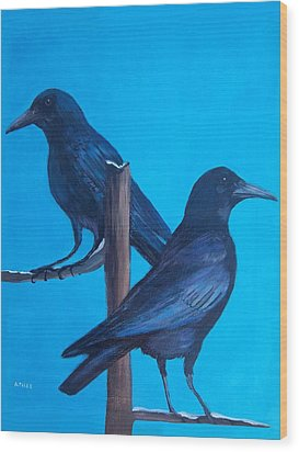 Crows On Tree Top Wood Print