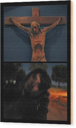 Crucifixion Wood Print by James W Johnson