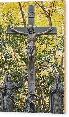 Crucifixion Wood Print by Mitch Cat