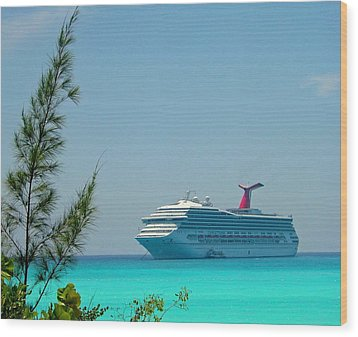 Wood Print featuring the photograph Cruise Ship At Half Moon Cay by Gary Wonning