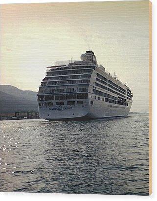 Cruise Ship In Alaska Wood Print by Judyann Matthews