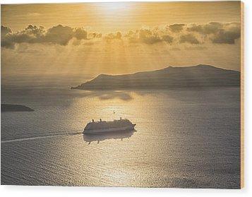 Cruise Ship In Greece Wood Print