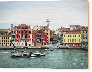 Wood Print featuring the photograph Cruising Into Venice by Mel Steinhauer