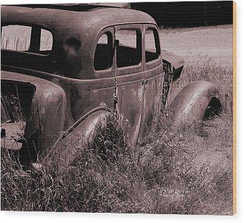 Wood Print featuring the photograph Crumbling Car by Kae Cheatham