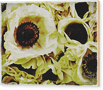 Wood Print featuring the photograph Crumpled White Poppies by Sarah Loft
