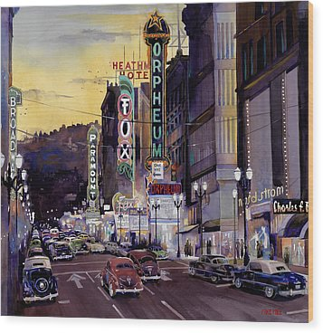 Crusin' Broadway In The Fifties Wood Print by Mike Hill