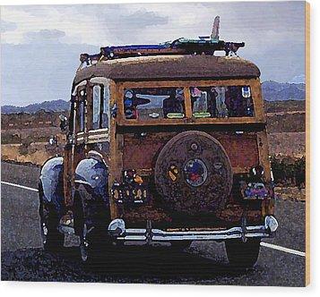 Crusin Through The Desert Wood Print by Ron Regalado