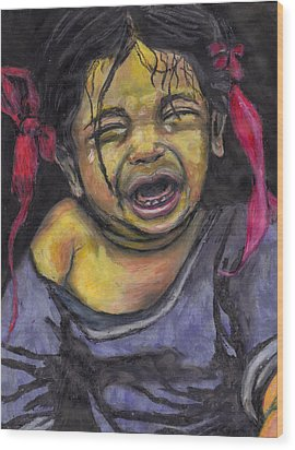 Cry Baby Cry Wood Print by Jean Haynes