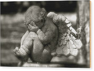 Crying Cherub Wood Print