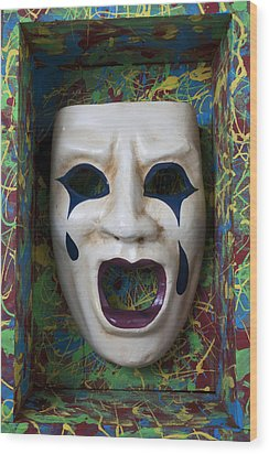 Crying Mask In Box Wood Print by Garry Gay