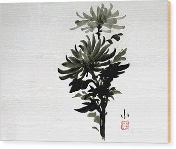 Crysanthemums Wood Print