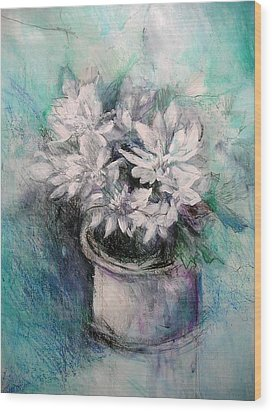 Wood Print featuring the painting Crysanthymums by Chris Hobel