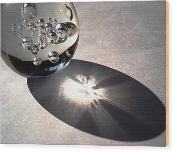 Crystal Ball With Trapped Air Bubbles Wood Print
