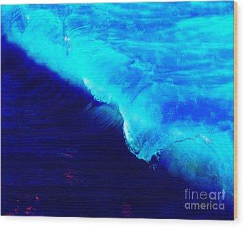 Crystal Blue Wave Painting Wood Print