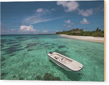 Crystal Clarity. Maldives Wood Print by Jenny Rainbow