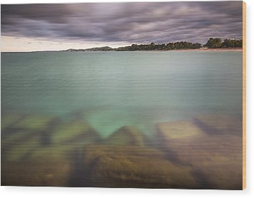 Wood Print featuring the photograph Crystal Clear Lake Michigan Waters by Adam Romanowicz