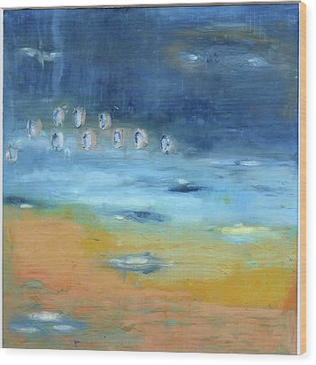 Wood Print featuring the painting Crystal Deep Waters by Michal Mitak Mahgerefteh