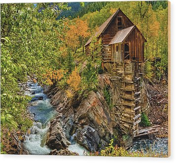 Crystal Mill Fall Colors Wood Print by Harry Strharsky