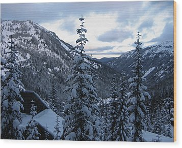 Crystal Mountain Dawn Wood Print by Lorraine Devon Wilke