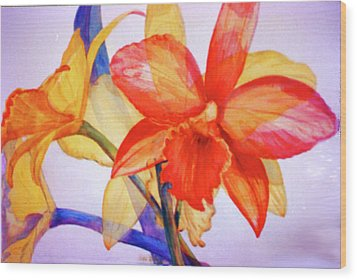 Crystal Orchids Wood Print by Estela Robles