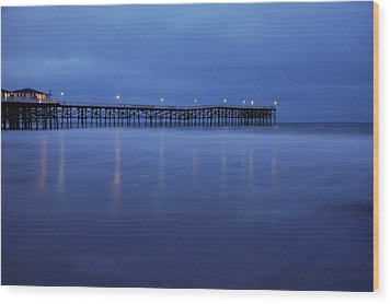 Crystal Pier Blue Wood Print