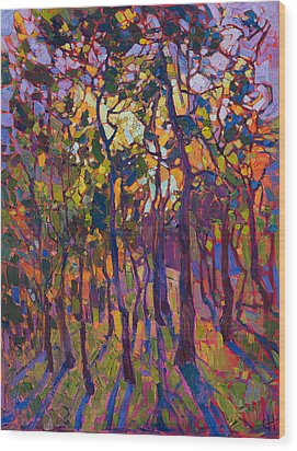 Crystal Pines Wood Print by Erin Hanson