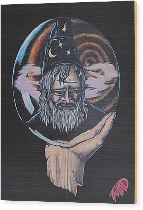 Wood Print featuring the drawing Crystal Wizard by Michael  TMAD Finney