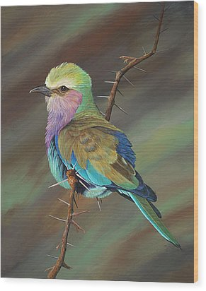 Wood Print featuring the painting Crystal's Bird by AnnaJo Vahle