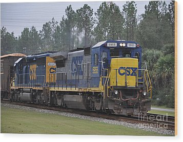 Csx 5955 Through Folkston Georgia Wood Print