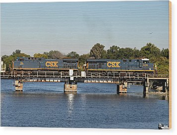 Csx On Mills Bayou Wood Print