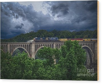 Csx Train Trestle Wood Print by Melissa Messick