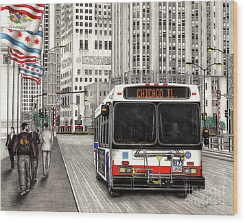 Cta Bus On Michigan Avenue Wood Print