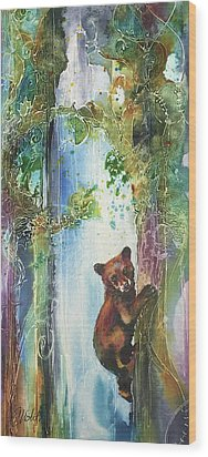 Wood Print featuring the painting Cub Bear Climbing by Christy Freeman
