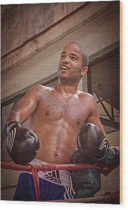 Wood Print featuring the photograph Cuban Boxer Ready For Sparring by Joan Carroll