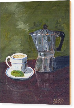 Cuban Coffee And Lime Green Wood Print by Maria Soto Robbins