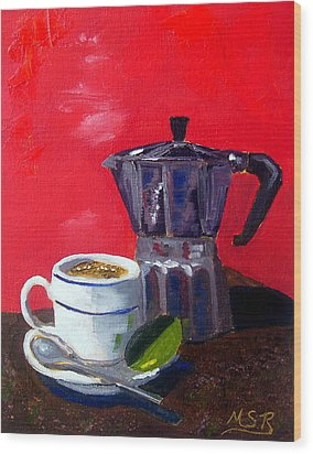 Cuban Coffee And Lime Red Wood Print by Maria Soto Robbins
