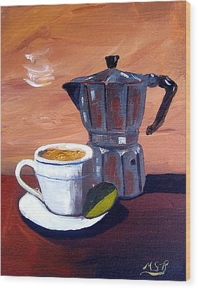 Cuban Coffee And Lime Tan Right Wood Print by Maria Soto Robbins
