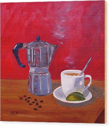 Cuban Coffee Beans And Lime Wood Print by Maria Soto Robbins