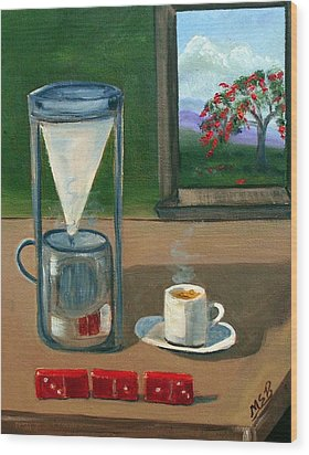 Cuban Coffee Dominos And Royal Poinciana Wood Print by Maria Soto Robbins