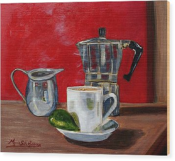 Cuban Coffee Lime And Creamer Wood Print by Maria Soto Robbins