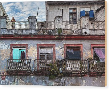Wood Print featuring the photograph Cuban Woman At Calle Bernaza Havana Cuba by Charles Harden