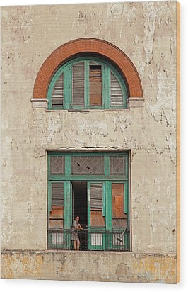 Cuban Woman On San Pedro Balcony Havana Cuba Wood Print by Charles Harden