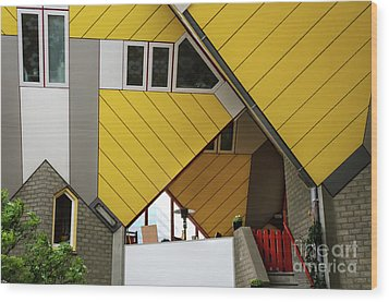 Wood Print featuring the photograph Cube Houses Detail In Rotterdam by RicardMN Photography