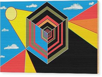 Cube Wood Print by Van Winslow