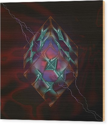 Cube With Thunders 01 Wood Print by Aleksandar Zisovski