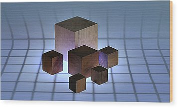 Cubes Wood Print by Mark Fuller