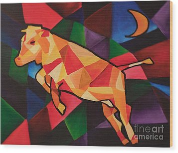 Cubism Cow Wood Print