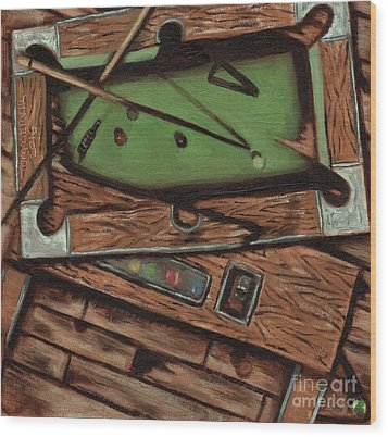 Wood Print featuring the painting Cubism Pool Table Billiard Art Print by Tommervik